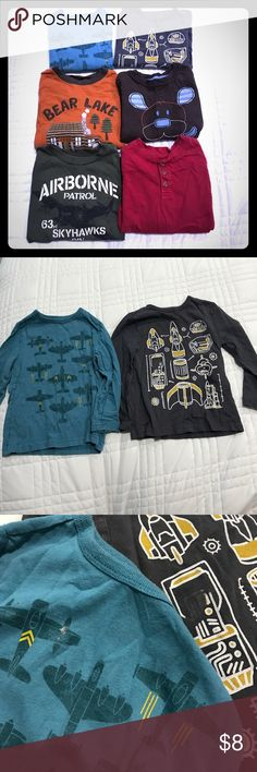 6 Long Sleeve Shirts Size 3T This listing is for 6 shirts, all long sleeve and size 3T. Gently used with light wash wear and very little for stains. No holes or rips. Name brands are Old Navy, Gymboree, Jumping Beans, Garanimals, and Place 89. All of my items come from a clean, smoke-free home! Check out my closet for many more items and save when you bundle! Please let me know if you have any questions! Shirts & Tops Tees - Long Sleeve
