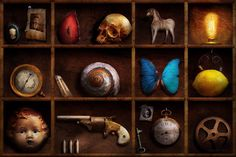 Steampunk - A Box Of Curiosities Metal Print by Mike Savad. All metal prints are professionally printed, packaged, and shipped within 3 - 4 business days and delivered ready-to-hang on your wall. Steampunk House, Thing 1, Aluminium Sheet, Animal Skulls, Dieselpunk, Curiosity, Fine Art Photography, Collage Art, Amazing Art