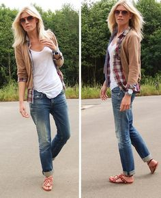 a weekend of thrifting outfit. boyfriend jeans. comfy flats. white tee. plaid button down. camel cardigan.