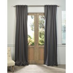 EFF Charcoal Rod Pocket and Back Tab Blackout Curtain Panel Pair | Overstock.com Shopping - The Best Deals on Curtains