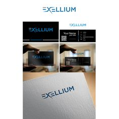 Exellium - Logo design for IT consulting and aerial imaging company 2 variations should be possible: IT consulting Aerial imaging Business Card Logo, Business Card Design, Facebook Cover Design, Professional Business Cards, Custom Logos, Logo Design, Company Logo, Names, Card Ideas
