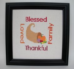 Blessed Loved Thankful Family Autumn Harvest by MillyBeanStitching #teamunity