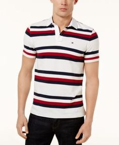 Mens Tommy Hilfiger Custom Fit 2 Tone Color Polo T-Shirt TOMMY