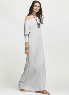 Polyester Solid Long Sleeve Maxi Casual Dresses (1022657) @ floryday.com