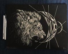 #scratchbord #scratchboard #scratchart #art #artwork #custom #blackandwhite #crosshatch #artistsofinstagram #sketch #layers #draw #drawing #create #creative #illustrative #illustration #lion #mandala #halfmoon #lines #ferocious