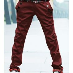$18.84    Stylish Straight Trousers Casual Long Pants Double-belt For Men