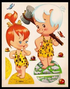 The Flintstones Pebbles & Bam Bam Classic Cartoon Characters, Classic Cartoons, Vintage Cartoon, Cartoon Art, Vintage Paper Dolls, Vintage Toys, Desenhos Hanna Barbera, Imprimibles Toy Story Gratis, Pebbles And Bam Bam