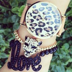 Love & leopard bracelets❤ Pinterest:@ Alexxis Gary Boozer