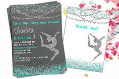 Printable Gymnastics Digital Invitation  Confetti Gymnastics