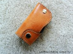 hand stitched hand dyed light brown vegetable tanned leather key fob purse / holder/ case