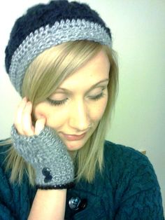 Cable Stitch Hat with Matching Fingerless by DanielleSeevers,
