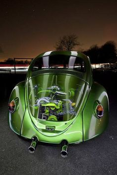 Dig the Photoshop work that went into creating this image. Could not of been easy to layer all the images and blend into this beauty. #green #vw #bug