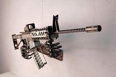 Articles similaires à ferraille fusil d'assaut sculpture sur Etsy Junk Metal Art, Metal Tree Wall Art, Scrap Metal Art, Metal Artwork, Metal Arte, Welding Art Projects, Metal Art Projects, Metal Crafts, Welding Ideas