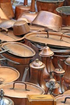 I just love these kinds of pots with a little shine they can be brought back to life.Check interiors of pots that have come from Turkey, Morroco, etc.  they are not always suitable to cook in.  More  for decoration.