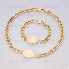 juego brazalete y collar simple dorado con ronda en acero inoxidable -SSNEG504015