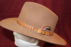 7164cf902fc39 Vintage Outback Dynafelt Brown Fur Felt Western Men s Hat Braided Leather  Hatband Size 7 1 8 57