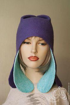 """Купить Комплект """"Фантасмагория!"""" - фиолетовый, однотонный, валяные шапки, валяные ушанки, комплекты аксессуаров"""