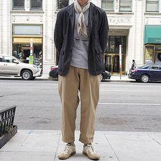 "Reposting @choitaco: ... ""따뜻한 동네로 피신 옴 ☀️ #engineeredgarments #pilgrimsurfsupply #spectator #skmanorhill #oliverpeoples #henderscheme"" Menswear mode style outfit ootd streetstyle clothing tenue homme inspiration"