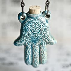 HAMSA HAND Necklace - Raku Style Peruvian ceramic bottle