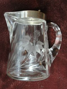 Heisey #362 Earnshaw Crystal Sanitary Syrup Pitcher flower etched #Heisey