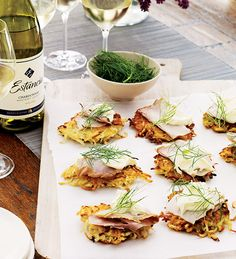 Gail Simmons' Potato & Parsnip Latkes with Smoked Sturgeon, Crème Fraîche, and Fennel Fronds #recipe paired with Estancia #Chardonnay