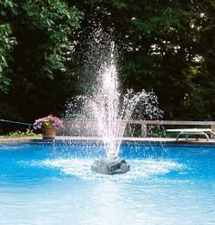 Swimline Triple Tier Rock Swimming Pool Fountain can shoot water up to 16' high. For inground or above ground pools.