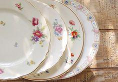 Vintage Mismatched China Plates Set of 4 by RosebudsOriginals