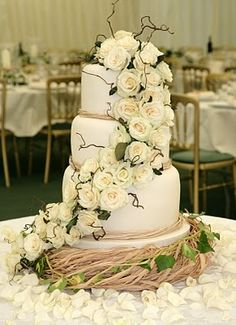 LOVE WOULD Love with sunset colored roses! rustic cake with raffia ribbon (instead of rafia coral and sea shells?)