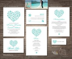 Beach Wedding, Invitation Printables, Destination Wedding, Heart,  Customized DIY Wedding, Starfish, Turquoise, Sea Shell