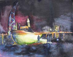 Boote und Schiffe im Aquarell | Schlepper im besonderen Licht (c) Aquarell vom Dampfschlepper Saturn von FRank Koebsch