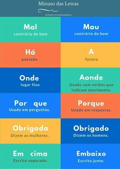 Ideas Memes Em Portugues Escola For 2019 Portuguese Grammar, Portuguese Lessons, Portuguese Language, Learn Brazilian Portuguese, Learn A New Language, Study Notes, Student Life, Study Tips, Knowledge