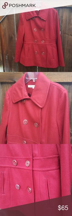 Kenneth Cole Red Peacoat Beautiful deep red color in Excellent Used Condition. Kenneth Cole New York Jackets & Coats Pea Coats