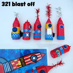 one of my favorite summertime memories are BBQ's. to make the happenings fun filled and forever memorable for kids of all ages, add a fun theme... like a 321 blastoff bash. kids will bring home their own hand made party favors. best of all, these favors will cost next to nothing and will be the hit of the summer!  click the picture for instructions.