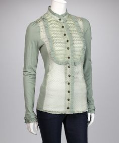 Take a look at this Green Sheer Silk Bonnie Parker Top by Knitted Dove on #zulily today!