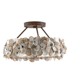 Currey and Company Oyster 3 Light Wide Semi-Flush Ceiling Fixture Textured Bronze Indoor Lighting Ceiling Fixtures Semi-Flush