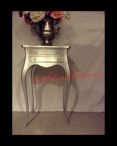 FRENCH SIDE TABLE silver metallic with gold accents -MyLilFrenchFarmhouse, $239.