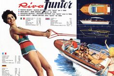 The same brochure, designed by Giorgio Barilani, highlights Junior's sporting performance. #Riva #RivaYacht #MadeinItay #Luxury