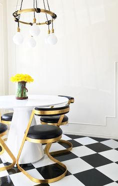 DIY Vinyl Kitchen Floor Tile Peel and Stick Retro Brady Tolbert Kitchen Vintage Dining Room After 1 Bamboo Hardwood Flooring, White Flooring, Plank Flooring, Terrazzo Flooring, Garage Flooring, Modern Flooring, Laminate Flooring, Diy Kitchen Flooring, Bedroom Flooring