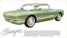 1955 Chevrolet Biscayne concept brochure - 4 passengers - 215h V8 - note the suicide doors!