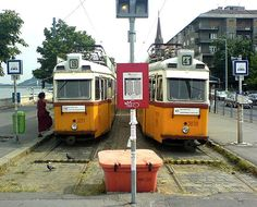 Trams waiting to depart on Batthyányi tér in Budapest Budapest, Old Photos, Waiting, Landscape, Street, Travel, Places, Hungary, Old Pictures