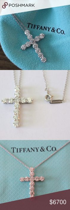 "Tiffany & Co Large Diamond Cross 1.71 ct, PT950 Tiffany & Co Diamond Necklace Large Diamond Cross Necklace 1.71 Carats  11 Diamonds 16"" Platinum Chain  New, hardly worn piece. Comes with Tiffany pouch and bag. Retail cost is $9500 after tax comes out to about $10,383. Please make sure to message with any questions you have, This is a beautiful piece and it will go fast…"