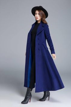 e10b17ea2e966 Long wool coat blue coat wool coat winter coat pleated