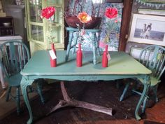 Antique Forest Green Shabby Chic Dining Table by ShabbyChicAlchemy, $249.99