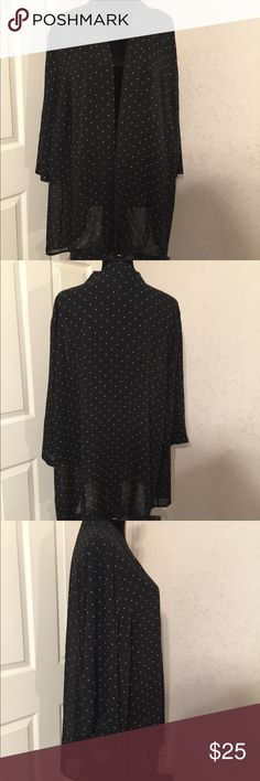 Maggie Barnes Black Cardigan Size 2X Maggie Barnes Black Cardigan Size 2X. This is a gorgeous black and white polka dot sheer cardigan. It is an open front and in great shape. Please view all pictures. Catherines Sweaters Cardigans