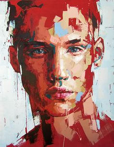 Jimmy Law (South African, b. 1970), acrylic on canvas, 2014 {figurative #expressionist art male head grunge man face portrait painting drips #loveart} jimmylaw.co.za