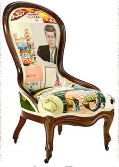 American Icon Chair made from vintage needlepoint