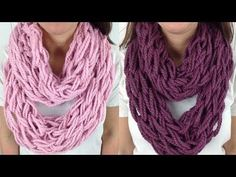 30 Minute Arm Knit Infinity Scarf Cowl with Lion Brand Wool Ease - Left Handed…