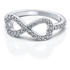 Infinity Diamond Ring in 18k White Gold (.39ctw) SI H-I ($959) ❤ liked on Polyvore featuring jewelry, rings, accessories, anillos, jewelry/accessories, white jewelry, white ring, 18k diamond ring, 18 karat white gold ring and white diamond ring