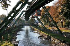 "Wuppertal, Germany's ""Schwebebahn,"" or ""floating train."""