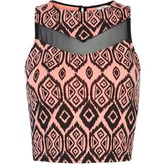 Coral Tribal Print Mesh Insert Crop Top ($9.20) ❤ liked on Polyvore featuring tops, crop tops, tank tops, shirts, red shirt, red sleeveless top, summer shirts, crop shirt and coral shirt